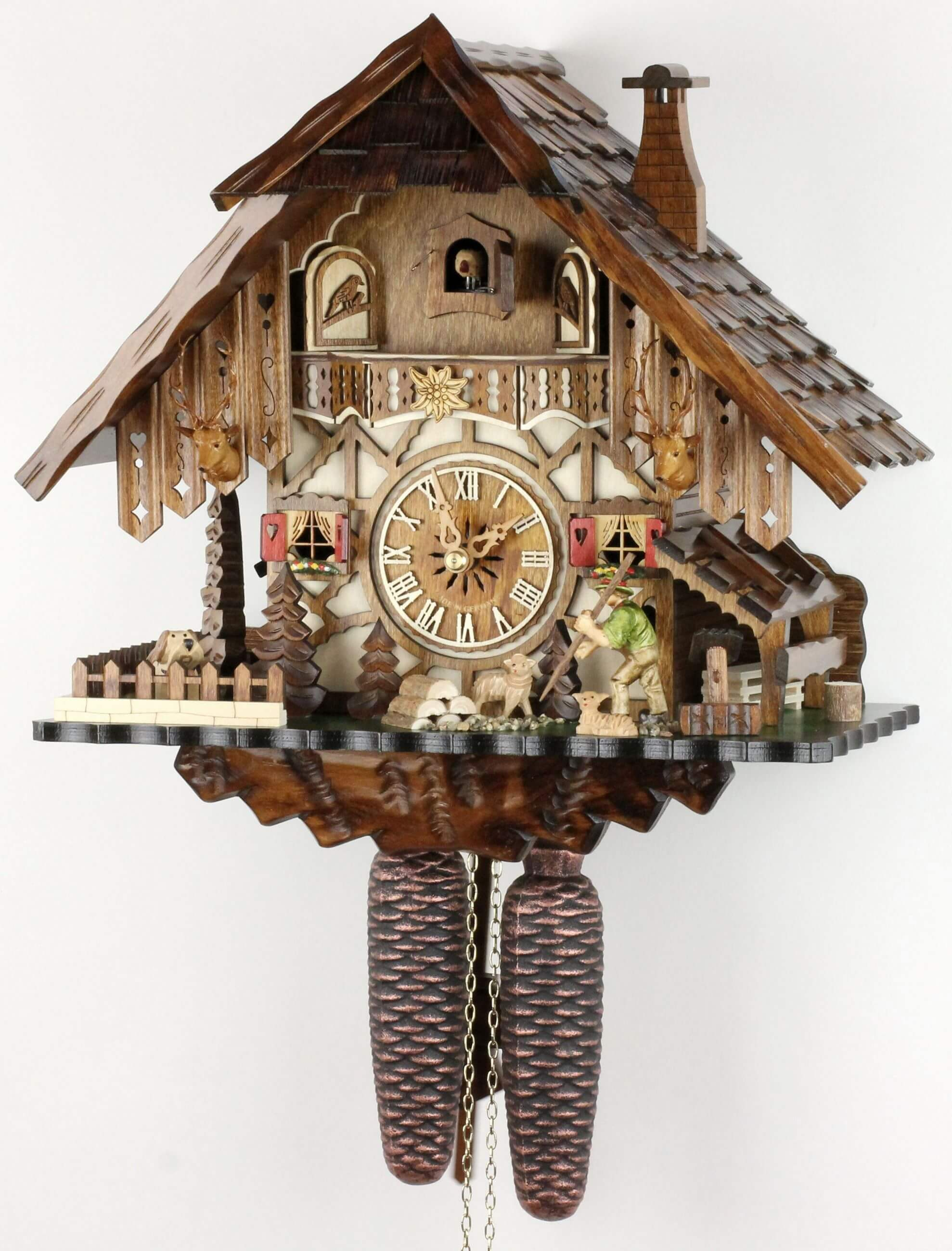 schwarzwaldhaus 35cm kuckucksuhr original schwarzw lder kuckuckuhr ech ebay. Black Bedroom Furniture Sets. Home Design Ideas
