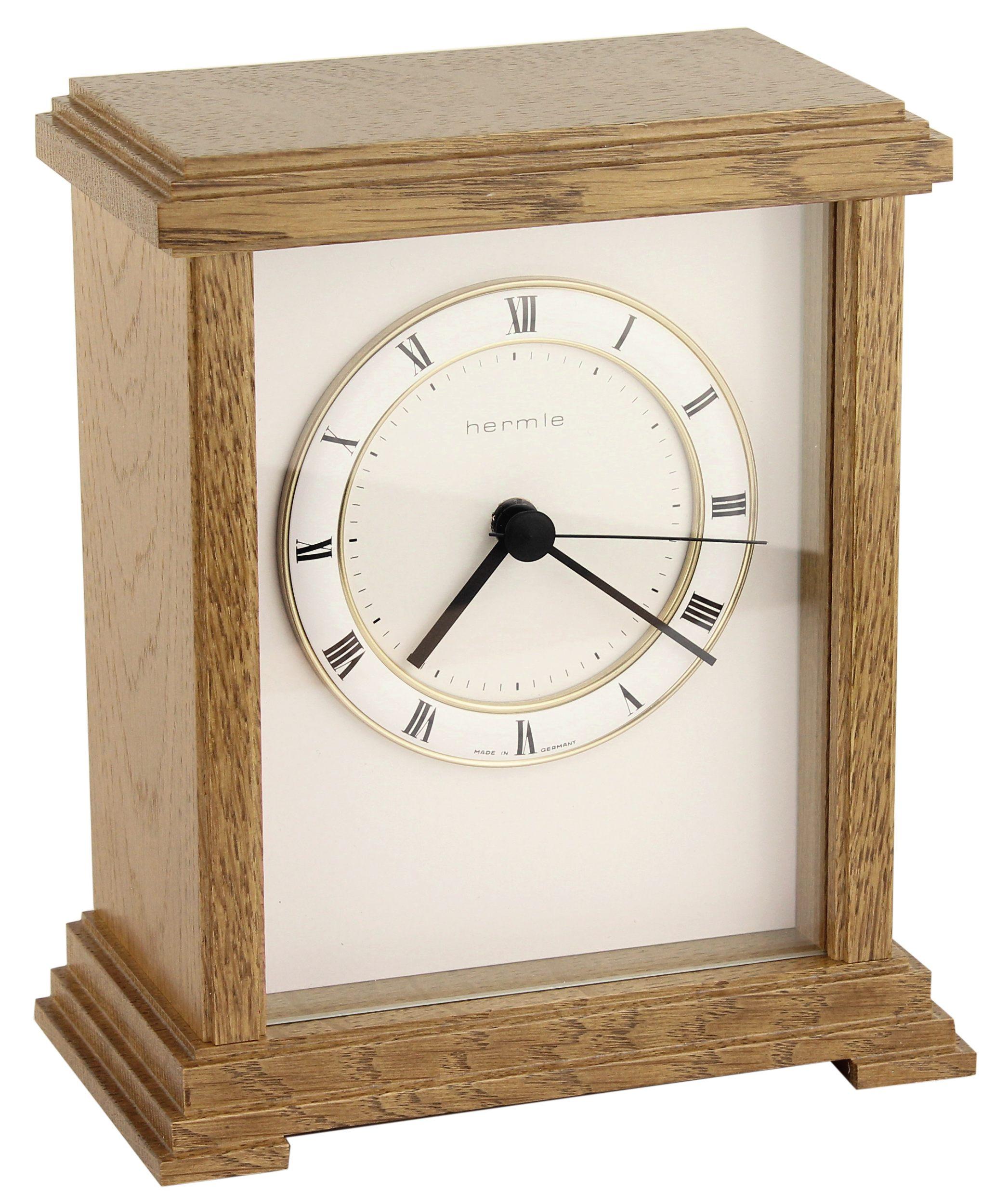 hermle funkuhr eiche 19cm 22872 040870 tischuhr mit batteriebetriebenem quartz ebay. Black Bedroom Furniture Sets. Home Design Ideas