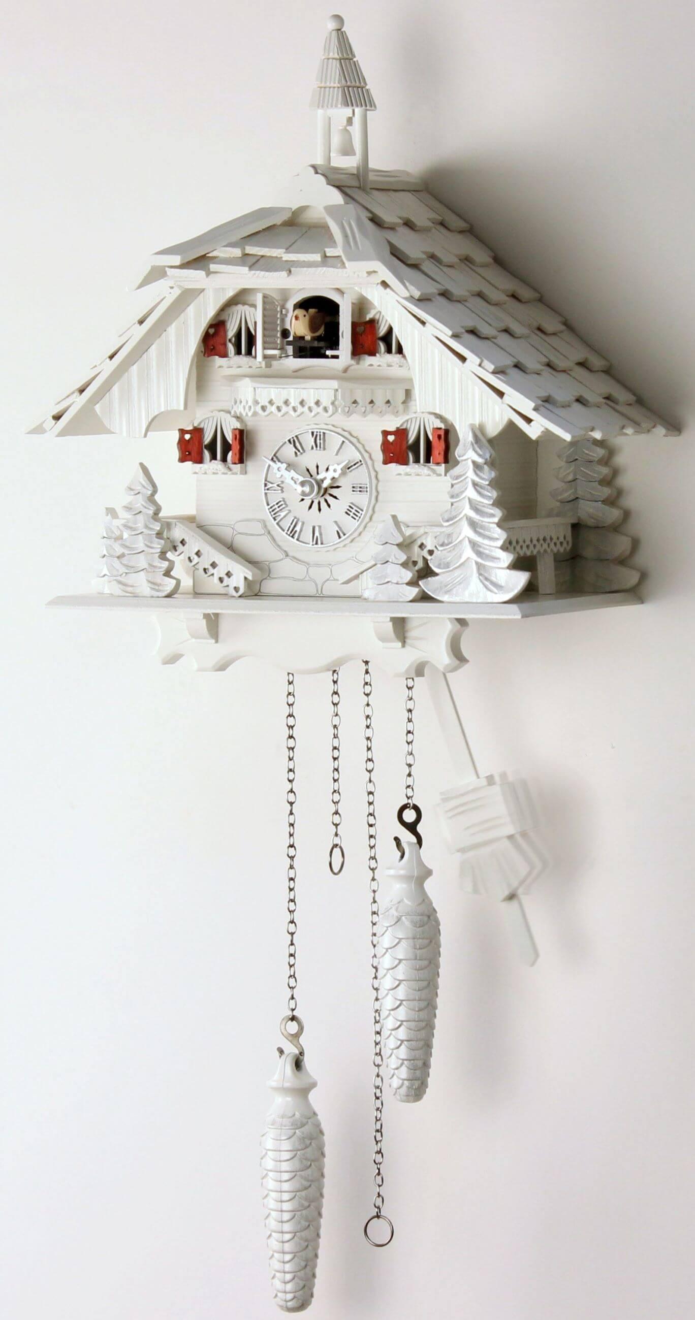 schwarzwaldhaus wei 30cm kuckucksuhr kuckuckuhr echtholz neu ebay. Black Bedroom Furniture Sets. Home Design Ideas