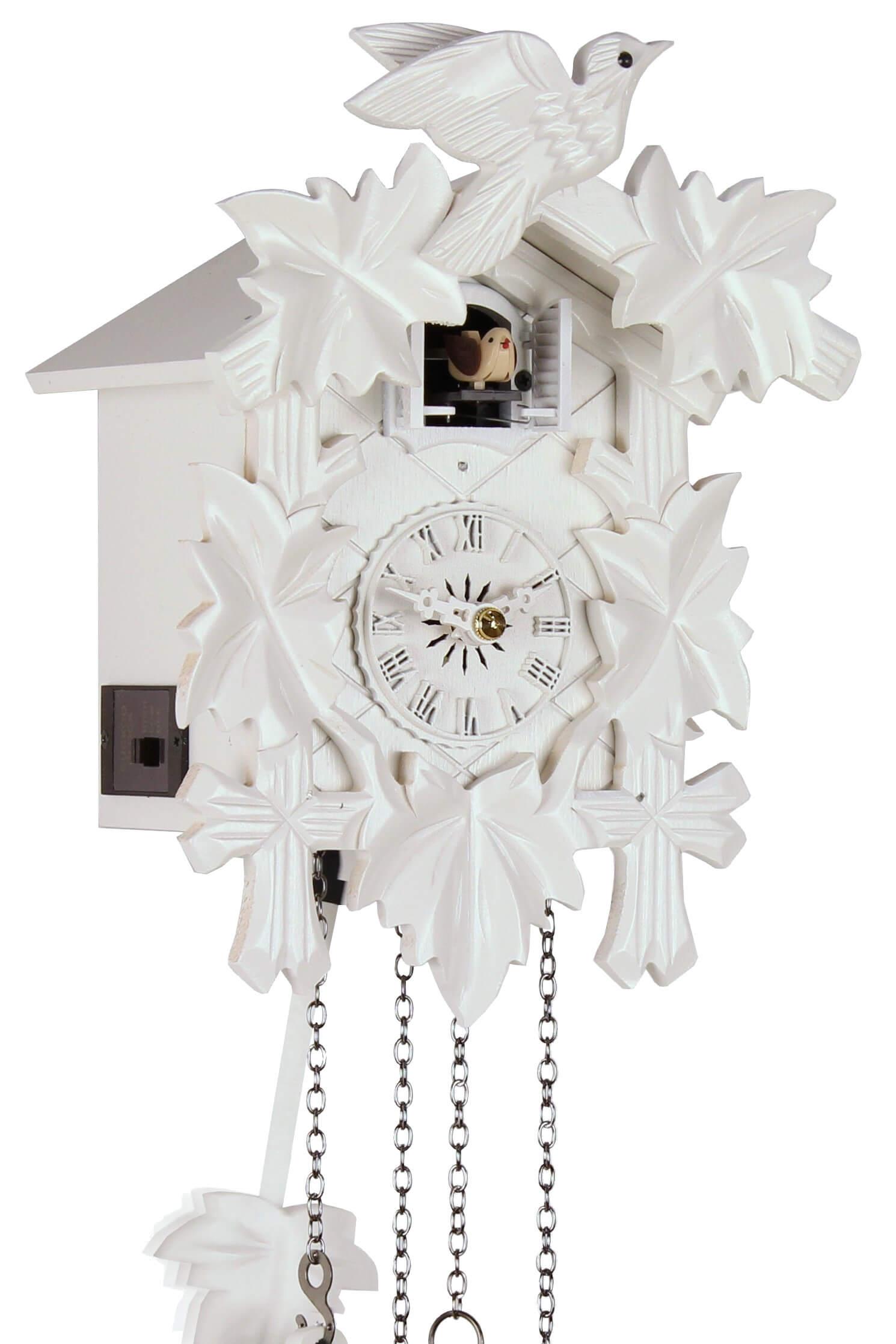 f nflaub wei 25cm kuckucksuhr kuckuckuhr echtholz neu batte ebay. Black Bedroom Furniture Sets. Home Design Ideas