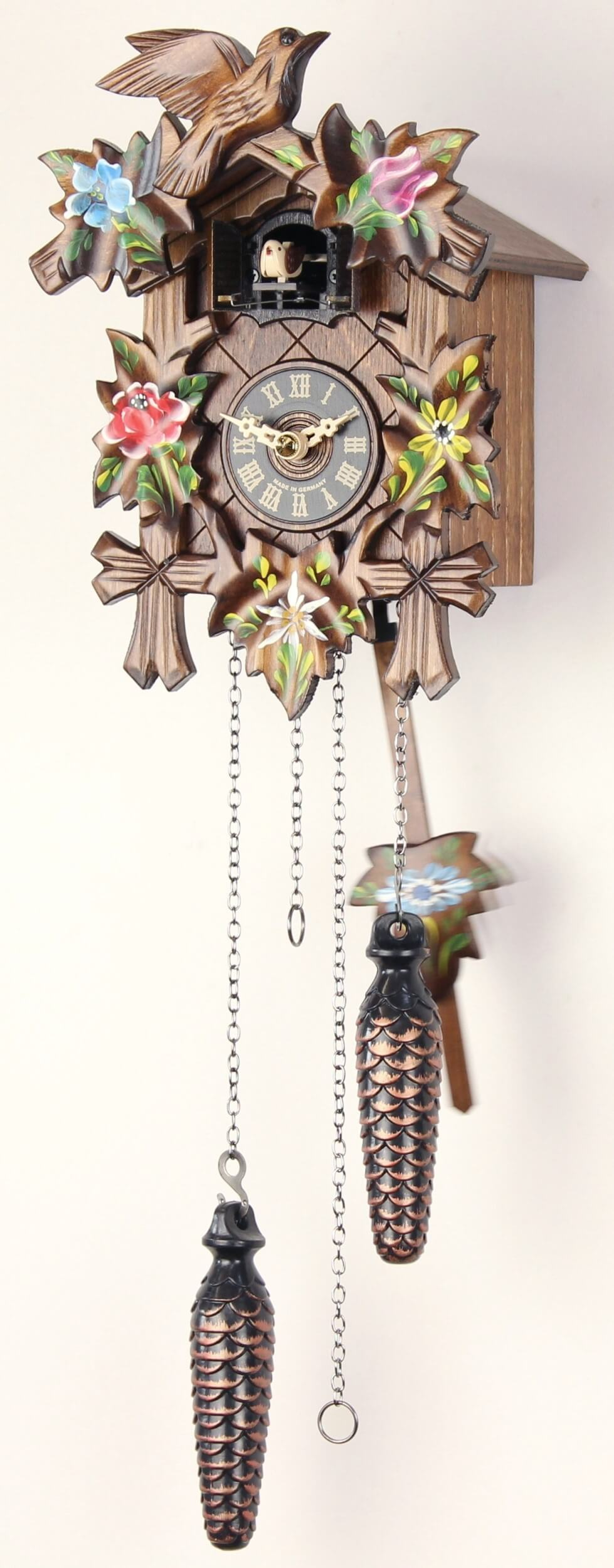 5 laub painted 25cm cuckoo clock cuckoo clock real wood new batte ebay - Cuckoo watches ...