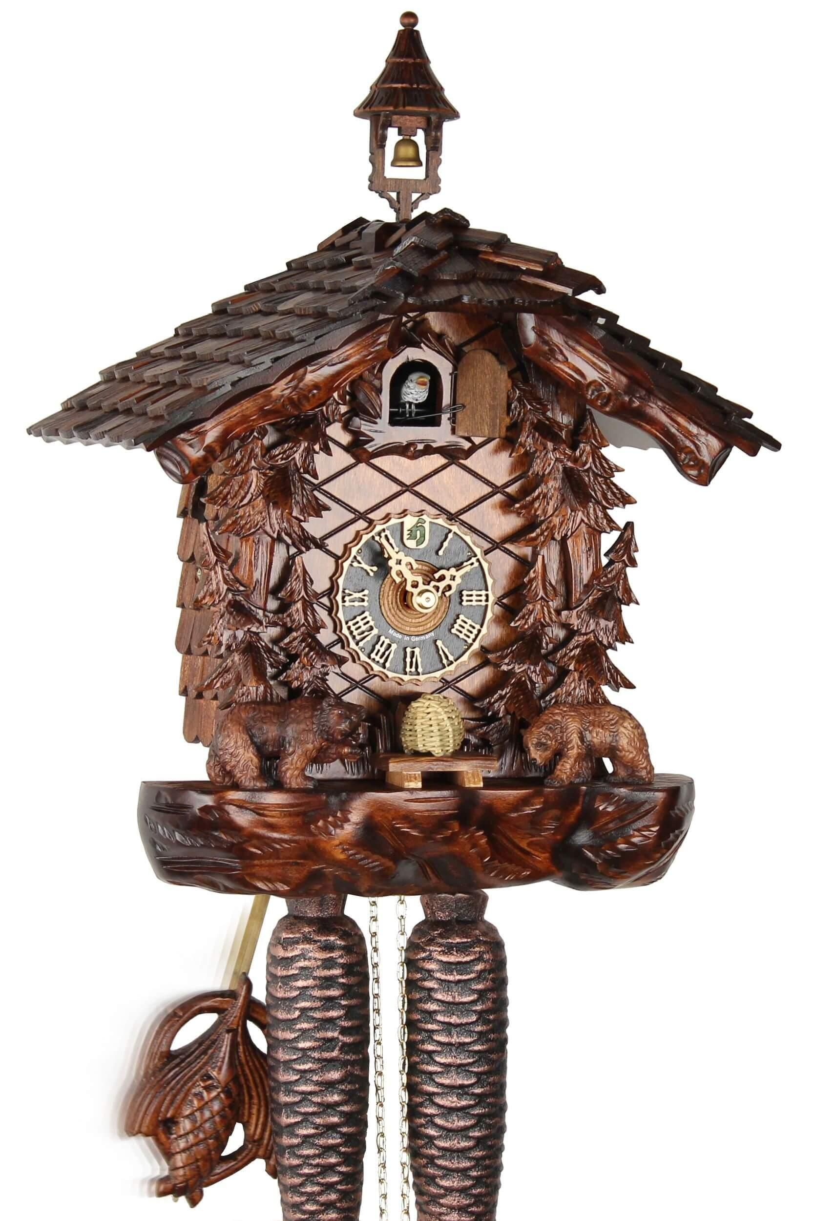 h nes honigb ren 35cm 8709ko kuckucksuhr original schwarzw lder kuckuckuhr ech ebay. Black Bedroom Furniture Sets. Home Design Ideas